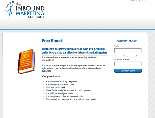inbound marketing ebook landing page