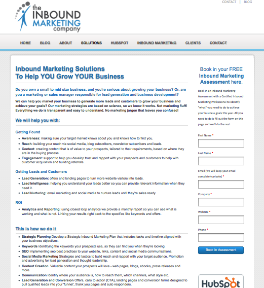Inbound marketing landing page