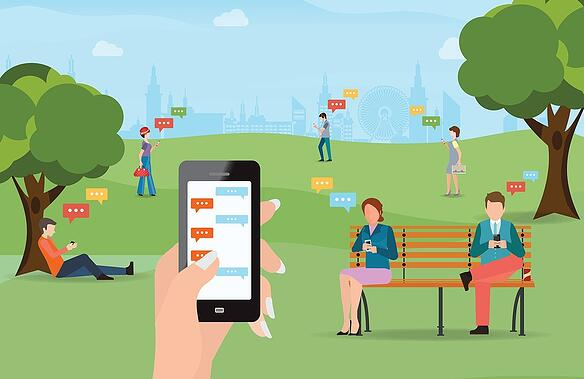 people in park all on mobile phone.jpg